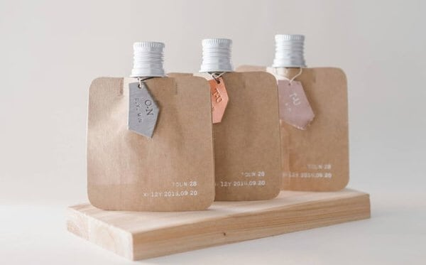 TOUN28 customized skincare products in recycling paper packaging.